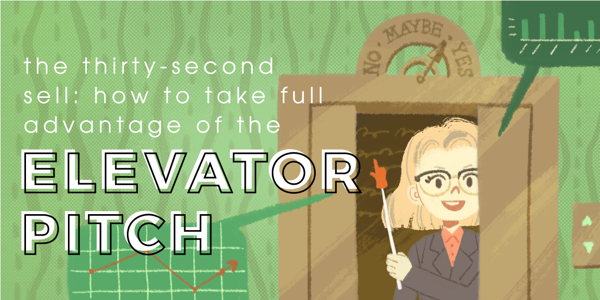 The feature image for a blog post about how to make an elevator pitch.